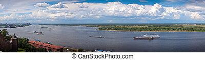 Panoramic view of the Volga river in Nizhny Novgorod