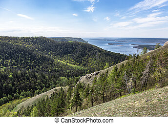 Panoramic view of the Volga River in the mountains
