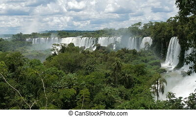 Panoramic view of the waterfalls in the Iguazu National Park