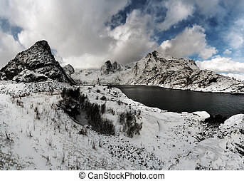 Panoramic view of the winter mountain landscape with a lake.