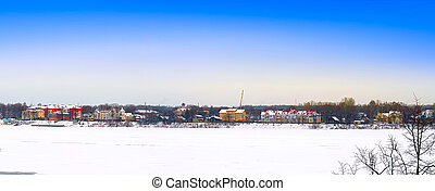 panoramic view of the winter village
