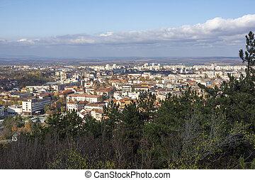 Panoramic view of town of Vratsa and Stara planina Mountain, Bulgaria