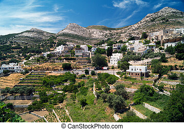 Panoramic view of traditional village on Naxos island, Greece
