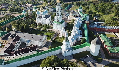 Panoramic view of unique monastery complex of Trinity Lavra ...