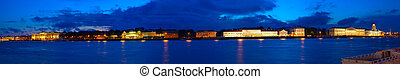 Panoramic view of Vasilyevsky Island in night. Saint ...