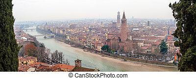 Panoramic view of Verona, Italy With Santa Anastasia Church ...