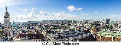 Panoramic view of Vienna - Panoramic view of Vienna city on...