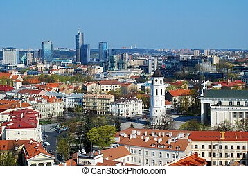 Panoramic View of Vilnius City Old Town and Modern Buildings in the Horizon.