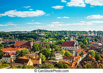 Panoramic view of Vilnius cityscape with churches