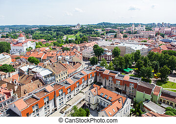 Panoramic view of Vilnius old town - Panoramic view on red ...