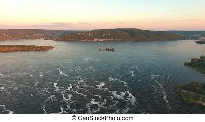 Panoramic View of Volga River Bend, aerial shooting