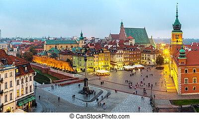 Panoramic view of Warsaw at night in Poland