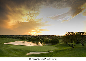 view of water hazards on a fairway golf course