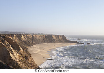 Panoramic view of windy pacific coast in Half Moon Bay, California