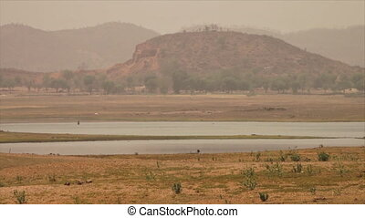 Panoramic view of Yamuna river and plains, India - Wide...