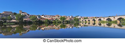 Panoramic view of Zamora in Spain. - Panoramic view of...