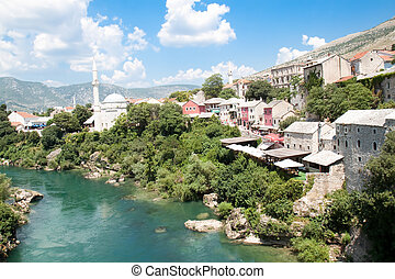 Panoramic view on famous toristic place Mostar