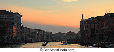 Panoramic view on Grand Canal at sunset.
