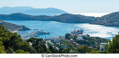 Ios island harbor - Panoramic view on Ios island harbor,...