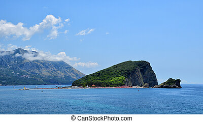 Panoramic view on island of St. Nicholas near Budva, Montenegro