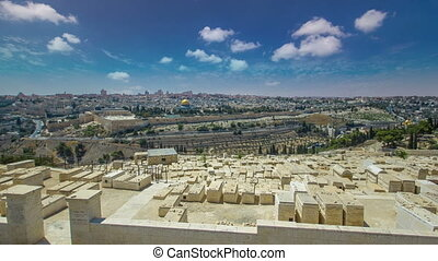 Panoramic view on Jerusalem timelapse hyperlapse with the Dome of the Rock from the Mount of Olives.