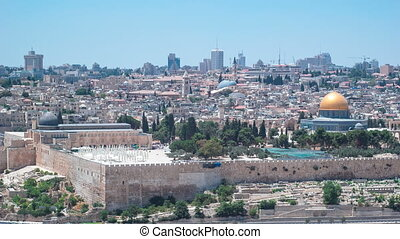 Panoramic view on Jerusalem timelapse with the Dome of the...