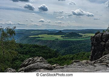 panoramic view on kaiserkrone in saxon switzerland, germany