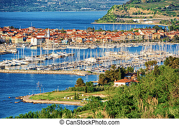 Panoramic view on Marina in Adriatic Sea in Izola Slovenia