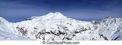 Panoramic view on mount Elbrus and off-piste slope