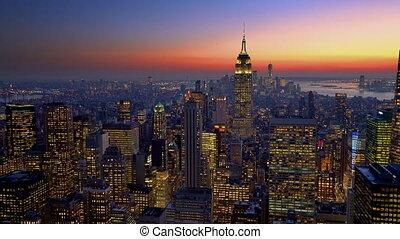 Panoramic view on New York City Manhattan at dusk