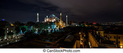 Panoramic view on night Hagia Sophia Museum, Istanbul