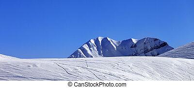 Panoramic view on off-piste slope. Georgia, region Gudauri....