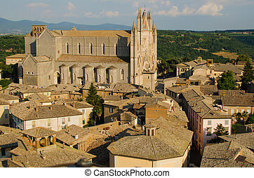 Panoramic view on Orvieto Cathedral, Italy
