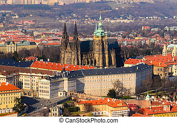 Prague - panoramic view on Prague castle and old town from ...