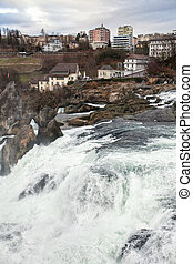 panoramic view on Rhine Falls; Switzerland;