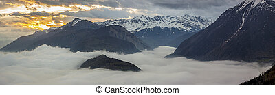 Panoramic view on Rhone valley - Switzerland. Beauty...