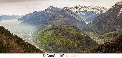 Panoramic view on Rhone valley - Switzerland. In background...