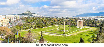 panoramic view on ruins ancient temple of Zeus, Athens, Greece