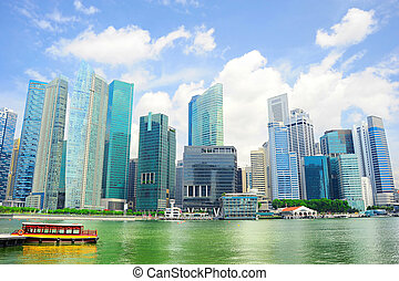 Panoramic view on Singapore city center and a bay