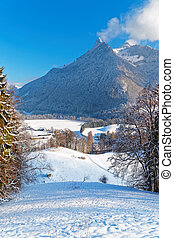 Panoramic view on Swiss Alps near the town of Gruyere