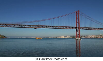 Panoramic View on the 25 de Abril Bridge in Lisbon,...