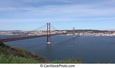 Panoramic View on the 25 de Abril Bridge in Lisbon