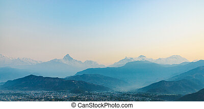 Panoramic view on the Himalayas from Sarangkot in Nepal