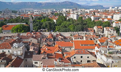 Panoramic view on the old town of Split, Croatia.