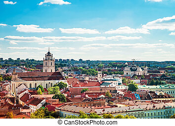 Panoramic view on Vilnius cityscape and churches