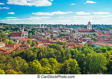 Panoramic view on Vilnius cityscape with churches