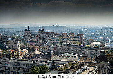 Panoramic view over est european town