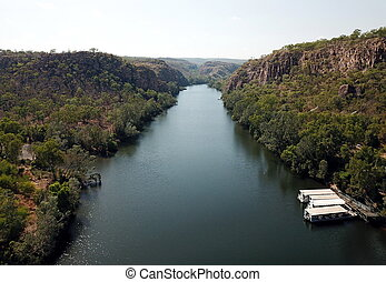 Panoramic view over Katherine river and Katherine Gorge in Nitmiluk National Park, Northern Territory of Australia
