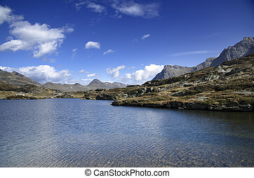 Panoramic view over mountain and a lake