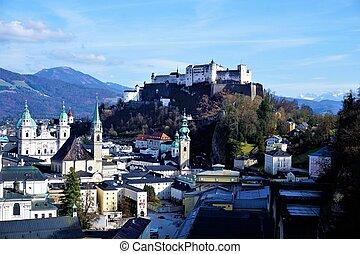 Panoramic view over Salzburg to fortress Hohensalzburg